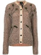 Lalo Beaded Knit Cardigan - Brown
