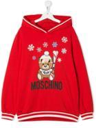 Moschino Kids Teen Winter Bear Hoodie - Red