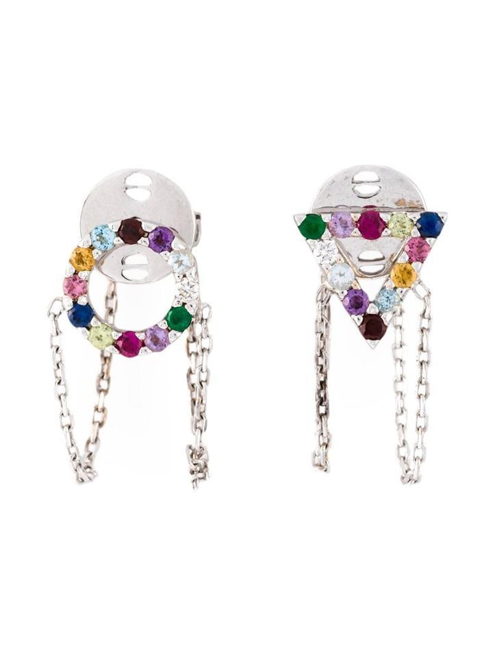Gisele For Eshvi 18kt White Gold Gemstone Earrings, Women's