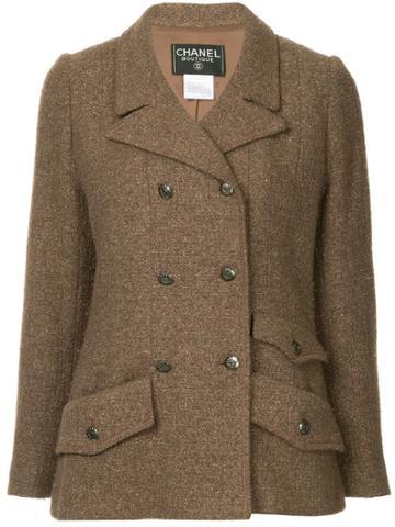 Chanel Vintage Logo Button Blazer Jacket - Brown