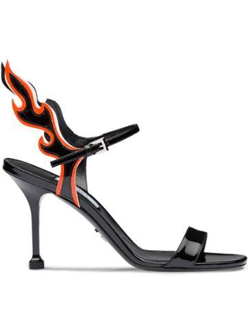 Prada Flame Detail Sandals - Black