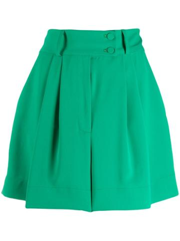 Styland Pleated Short Shorts - Green