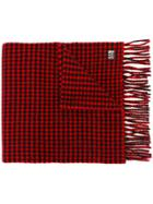 Ami Alexandre Mattiussi Houndstooth Scarf - Red