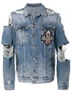 Balmain Distressed Denim Jacket - Blue