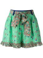 Manoush Floral Print Shorts, Women's, Size: 40, Green, Silk