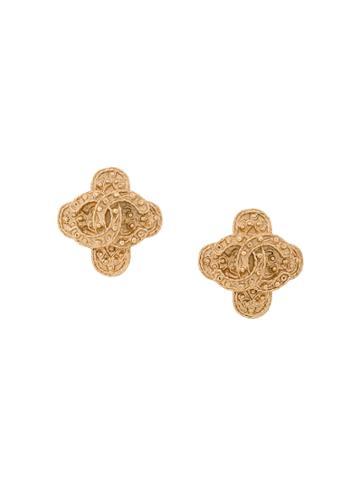 Chanel Vintage Baroque Embossed Logo Earrings - Metallic