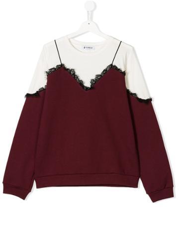 Dondup Kids Lace Top Sweatshirt - Red