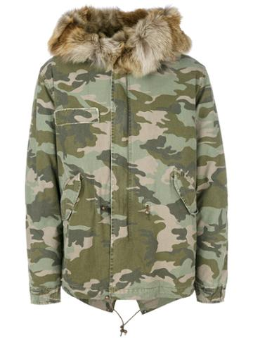 Mr & Mrs Italy - Camouflage Short Parka - Men - Cotton/polyester/coyote Fur - L, Green, Cotton/polyester/coyote Fur