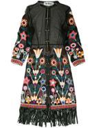Caban Romantic St Tropez Semi-sheer Floral Kimono - Black