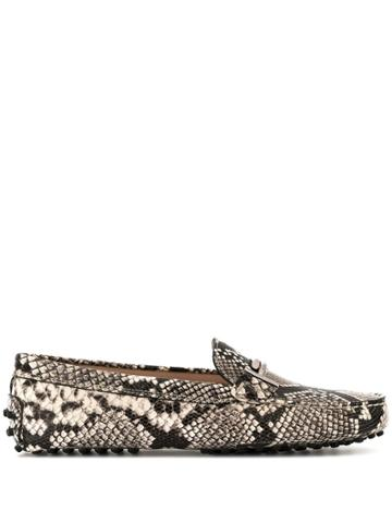 Tod's Animal Print Loafers - White