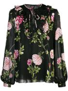 Giambattista Valli Floral Print Sheer Blouse - Black