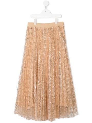 Monnalisa Skirt Silver Sequins - Orange