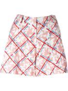 Jil Sander Navy Checked Floral Print Shorts
