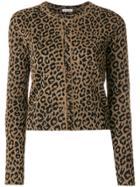 Balenciaga Leopard Print Cardigan - Brown