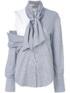 Balossa White Shirt Tie Neck Shirt - Blue