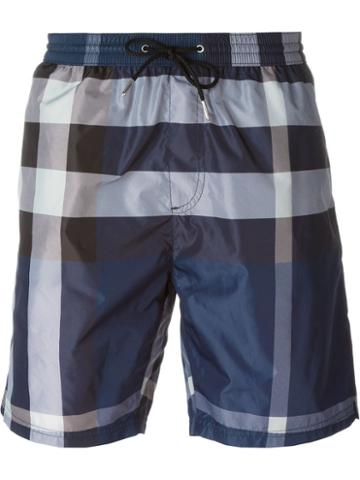 Burberry Brit Plaid Print Swim Shorts, Men's, Size: Xl, Blue, Polyester