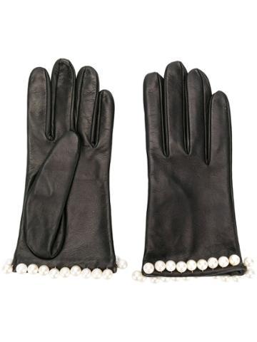 Manokhi Pearl Embellished Gloves - Black