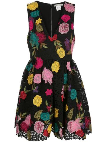 Alice+olivia Becca Embroidered Floral Dress - Black