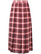 Msgm Plaid Pleated Skirt - Red