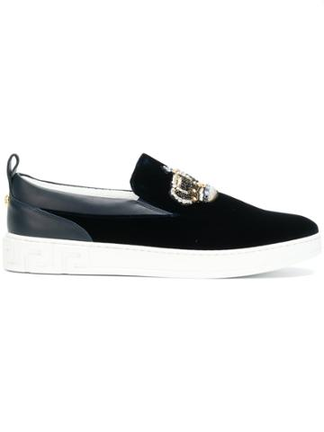 Versace Crown Embroidered Sneakers - Blue