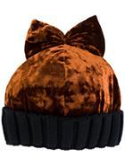 Federica Moretti Velvet Bow Beanie - Yellow & Orange