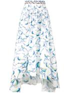 Peter Pilotto Bird Print Asymmetric Skirt - White