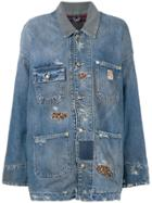 R13 Oversized Distressed Denim Jacket - Blue