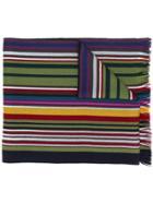 Altea Striped Knit Scarf - Blue