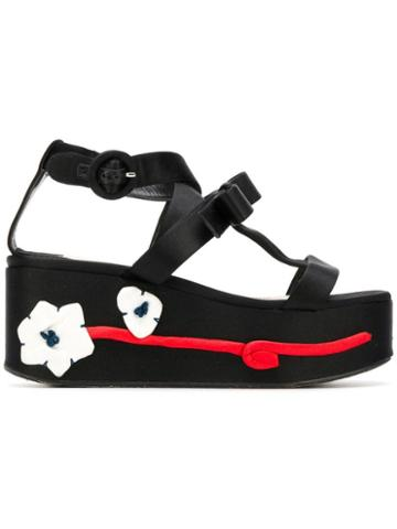 Prada Pre-owned Flower Appliqué Flatform Shoes - Black