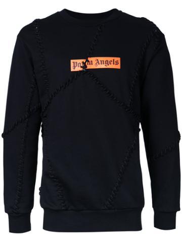 Palm Angels Lace-up Patched Sweatshirt, Men's, Size: Medium, Black, Cotton