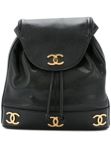 Chanel Pre-owned Cc Chain Backpack - Black
