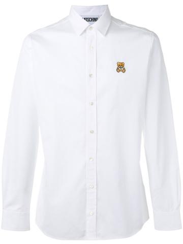 Moschino Bear Embroidered Shirt, Men's, Size: 39, White, Cotton
