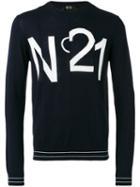 No21 Logo Print Sweatshirt, Men's, Size: Small, Blue, Virgin Wool