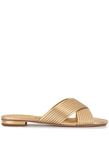 Schutz Metallic Cross-over Sandals - Gold