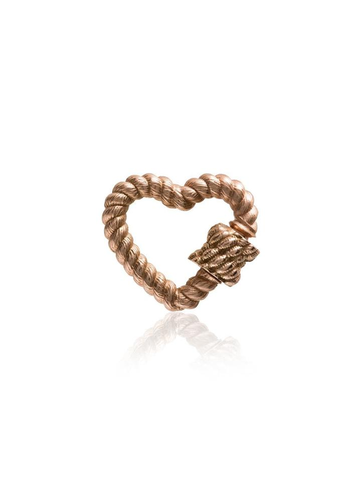 Marla Aaron 14k Rose Gold Twist Heart Lock Charm - Metallic