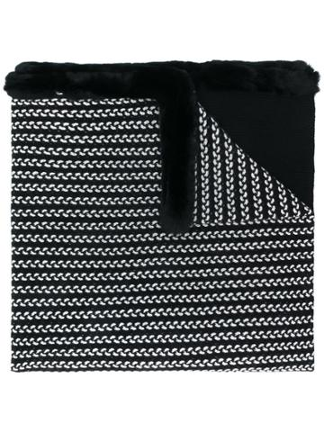 N.peal Oversized Embroidered Scarf - Black