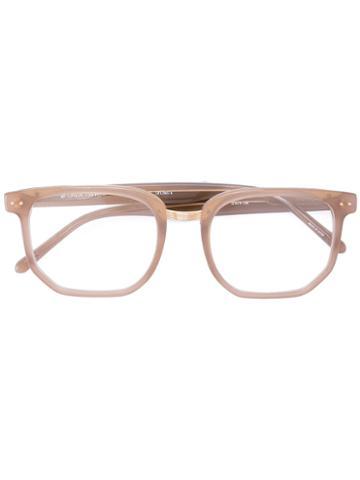 Linda Farrow Hexagon Frame Glasses, Nude/neutrals, Acetate