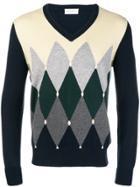 Ballantyne Argyle Vneck Sweater - Blue