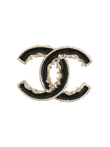 Chanel Vintage 2015's Melting Cc Brooch - Black