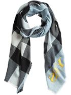 Burberry Check Cashmere Scarf - Blue