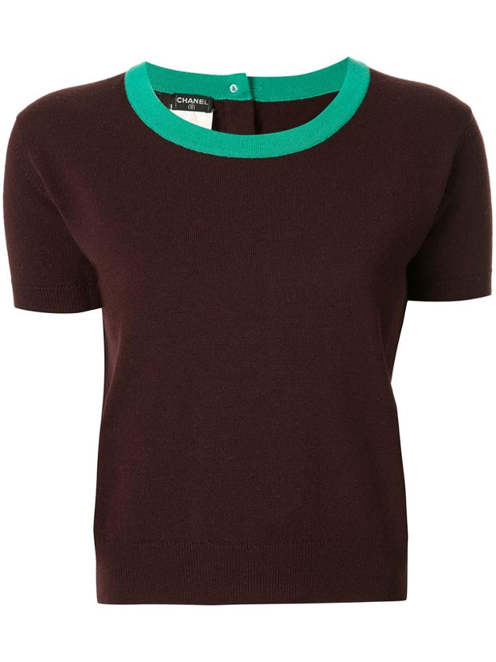 Chanel Pre-owned Cashmere Contrasting Neck Knitted T-shirt - Brown
