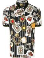 Dolce & Gabbana Cards Printed Polo Shirt - Black