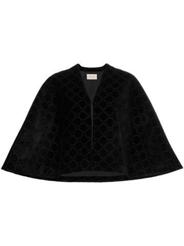 Gucci Gg Logo Velvet Cape - Black