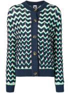 M Missoni Zigzag Pattern Cardigan - Blue
