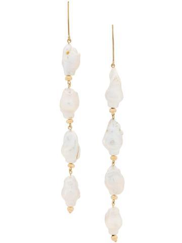 Apples & Figs Earpearl Pendant Earrings - Gold