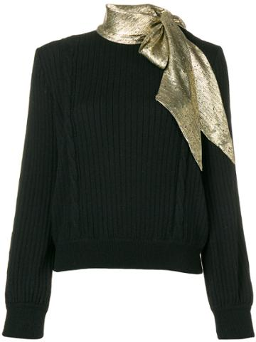Valentino Vintage Pussy Bow Knitted Top - Black