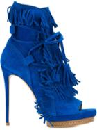 Casadei Fringed Open Toe Boots