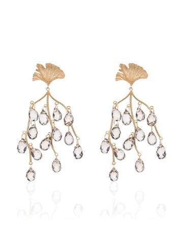 Apples & Figs Sea Shore Leaf Drop Earrings - Gold