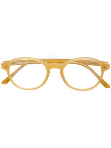 Giorgio Armani - Round Frame Glasses - Unisex - Acetate - 49, Yellow/orange, Acetate