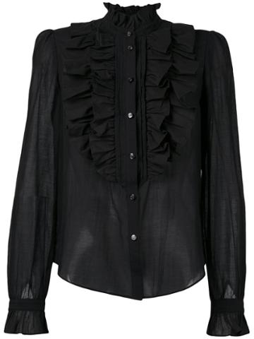 Temperley London - Strawberry Ruffle Shirt - Women - Silk/cotton - 8, Black, Silk/cotton